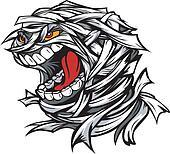 Screaming Scary Mummy Halloween Monster Head Cartoon Vector Illu