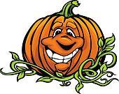 Happy Halloween Jack-O-Lantern Pumpkin Head Cartoon Vector Illus