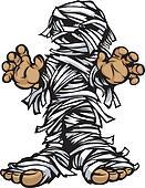 Standing Mummy Halloween Monster Cartoon Vector Illustration