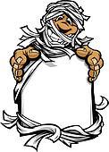 Happy Mummy Halloween Monster Holding Sign Cartoon Vector Illust