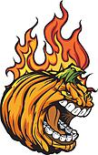 Screaming Halloween Jack-O-Lantern Pumpkin Head with Flames for