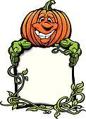 Happy Halloween Jack-O-Lantern Pumpkin Holding Sign Cartoon Vect