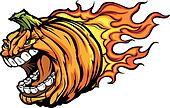 Screaming Halloween Jack-O-Lantern Pumpkin Head with Flames Cart