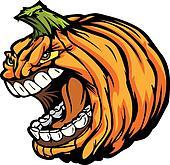 Screaming Halloween Jack-O-Lantern Pumpkin Head Cartoon Vector I