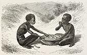 African children eating
