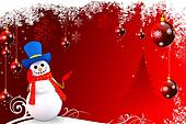 snow man on red background