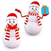 two snow man with gifts