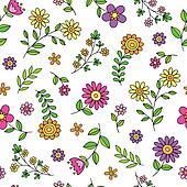 Cute Flowers Spring Doodle Pattern