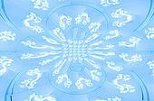 Double Circle and Swirls Blue
