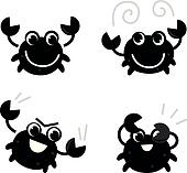 Cute black crab set isolated on white