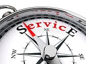 service red word on compass
