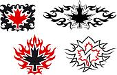 Maple leaves emblems and symbols
