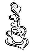 Black and white coffee cup vector. Swirl, curl style.