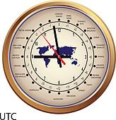 Gold clock with time zones