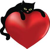 Black cat and heart