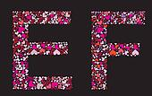 Letter E, F. Valentine alphabet