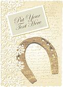 romantic card with horseshoe