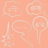 Set of speech and thought bubbles