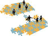 Business people build bridge join teams
