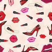 Seamless lip gloss background.