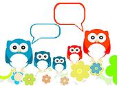 owls family speech in love on a flowery landscapes