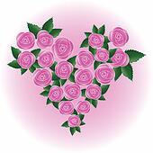 Pink vector rose heart
