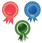 Blank award ribbon rosette for winner
