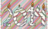 happy new year 2014 made with candles. Vector illustration