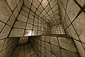 3d futuristic tiled mosaic labyrinth interior