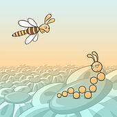 Caterpillar and bee