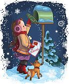 Little girl posting letter to Santa
