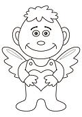 Boy angel with valentine heart, outline