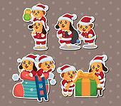 cute cartoon Christmas Holiday,animal santa, stickers
