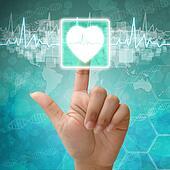 Hand press on Heart Symbol , medical background