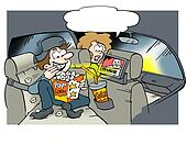 Daddy looking video movies on the back seat