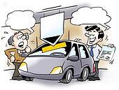 A car salesman and a customer