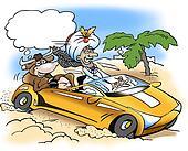 A rich sheik take a drive with a sacred cow