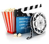 3d cinema clapper and film reel
