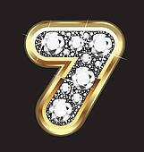 7 number gold and diamond bling