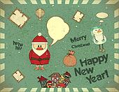 Merry Christmas Retro card with Santa Claus and snowman