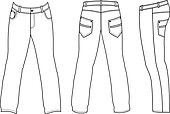 Man's jeans (front, back, side view