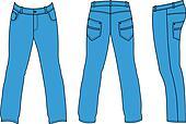 Blue man's jeans (front, back, side