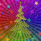 Christmas tree on rainbow background