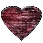 3D burned wooden heart