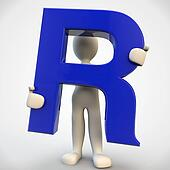 3D human character holding blue letter R