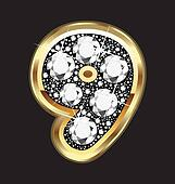 9 number in gold and diamond bling