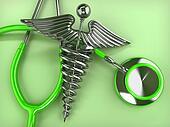 Stethoscope with symbol of medicine, caduceus.