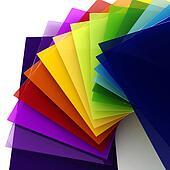 3d colorful sheets of transparent plastic
