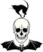 skull, cat and bat