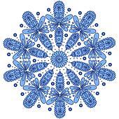 Blue ornamental round lace